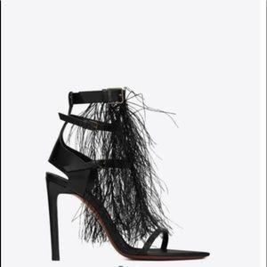 Saint Laurent Feather Embellished Leather Sandals